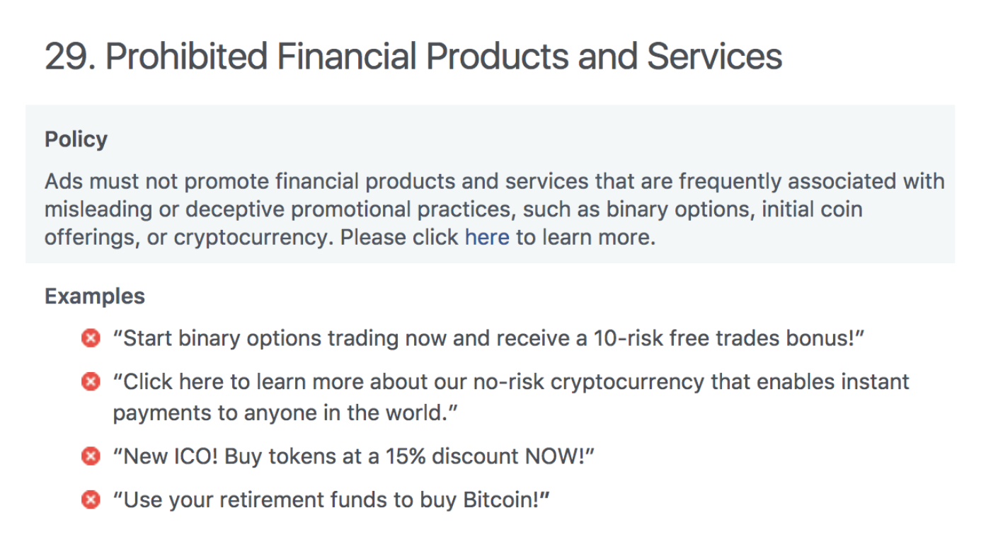 Facebook Bans Cryptocurrency Adverts