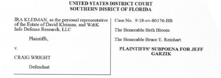 Jeff Garzik Subpoenaed in Kleiman Bitcoin Lawsuit Against Craig Wright