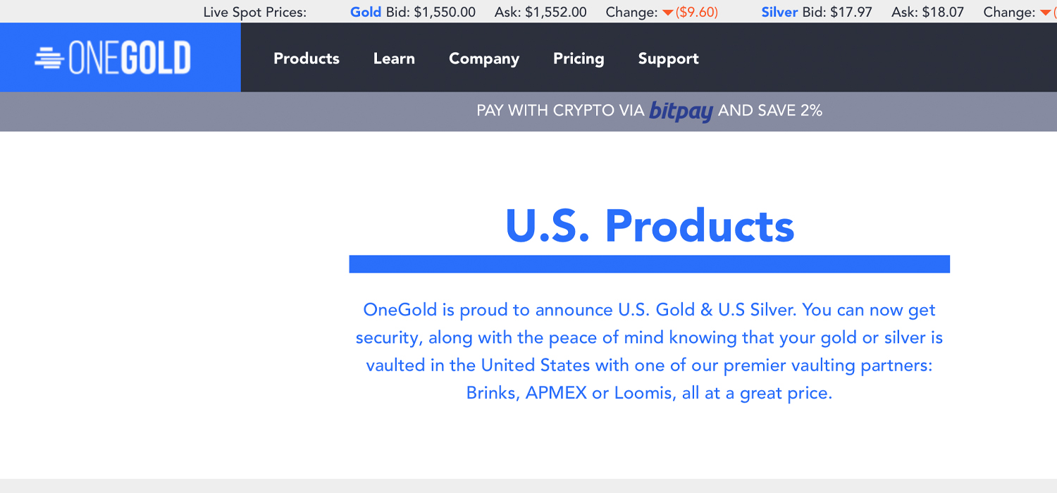 Online Bullion Marketplace Onegold Sees $50 Million in Crypto Payments