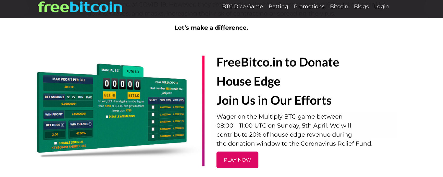 Freebitco.in Gaming Site Launches Covid-19 Relief Fund - Donating 20% House Edge to Healthcare Efforts