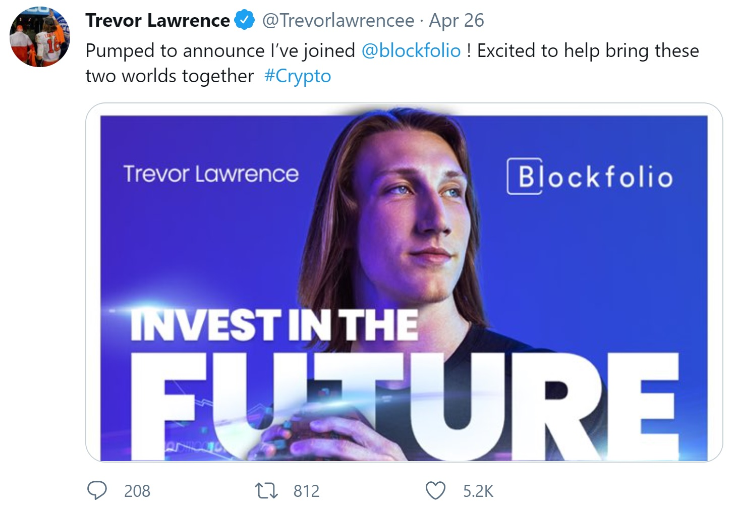 No. 1 NFL Draft Pick Trevor Lawrence Puts His Signing Bonus in Cryptocurrencies, Estimated Worth $24 Million