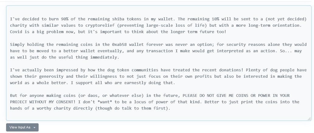 Ethereum's Vitalik Buterin Burns $6.6 Billion Worth of Shiba Inu Tokens